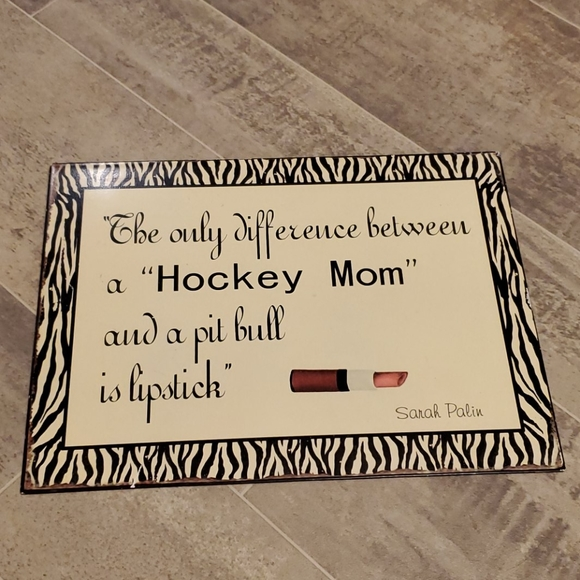 Metal Zebra Hockey Mom Sign